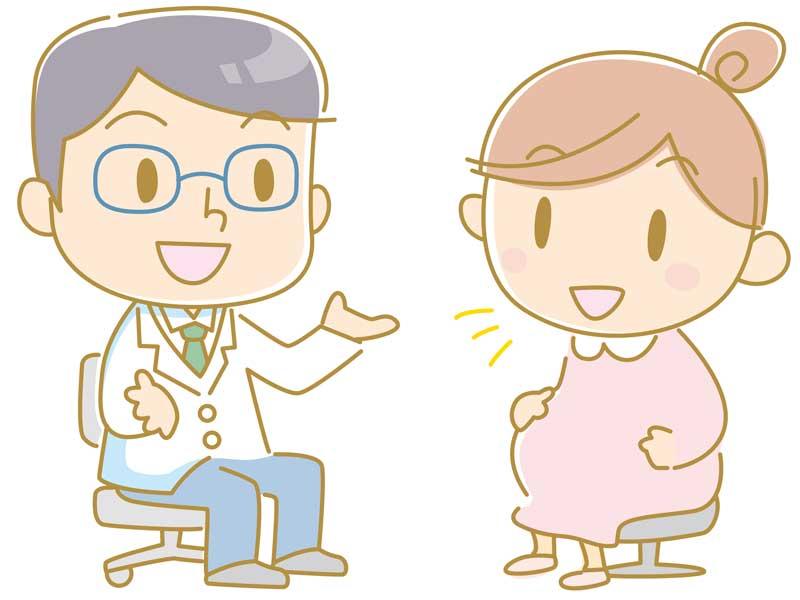 妊婦さんとお医者さんのイラスト