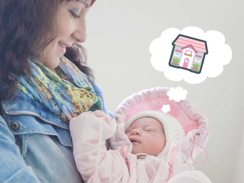 産後に退院する親子