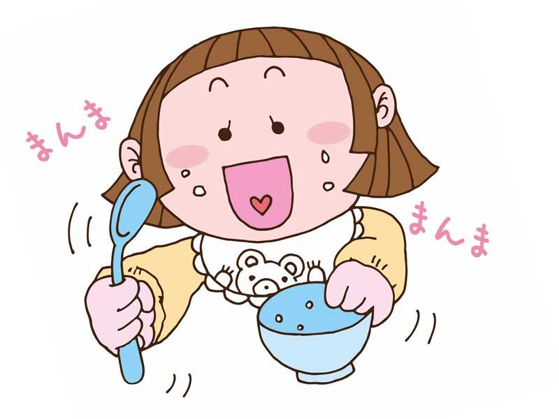 お雑煮を御代りしている女の子のイラスト