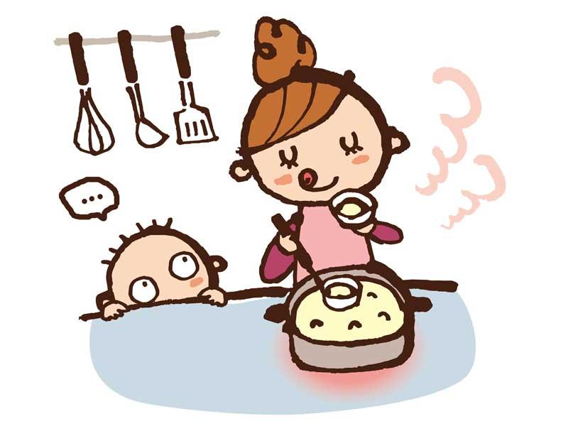 料理をしているママと子供のイラスト