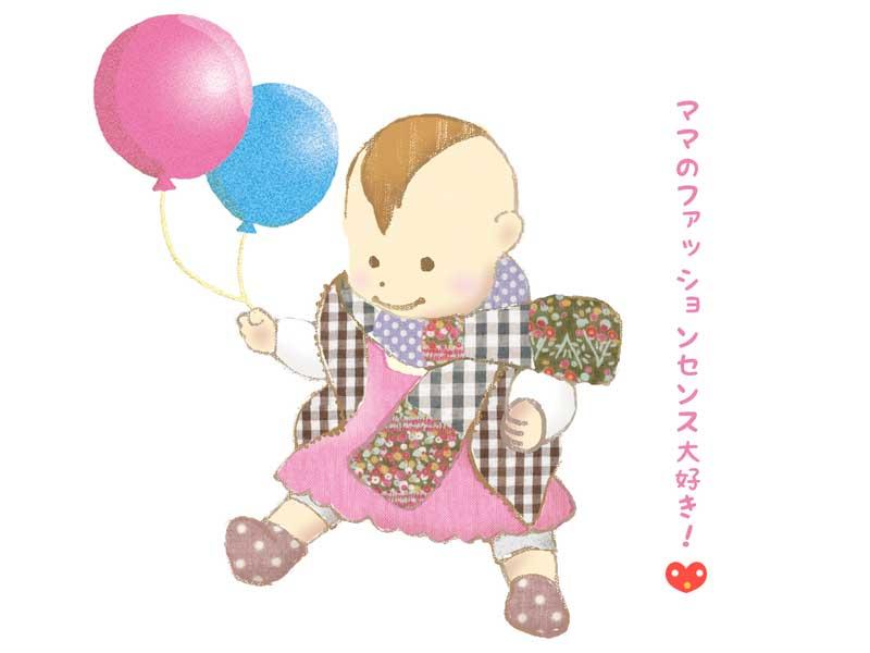 風船を持つ赤ちゃんのイラスト