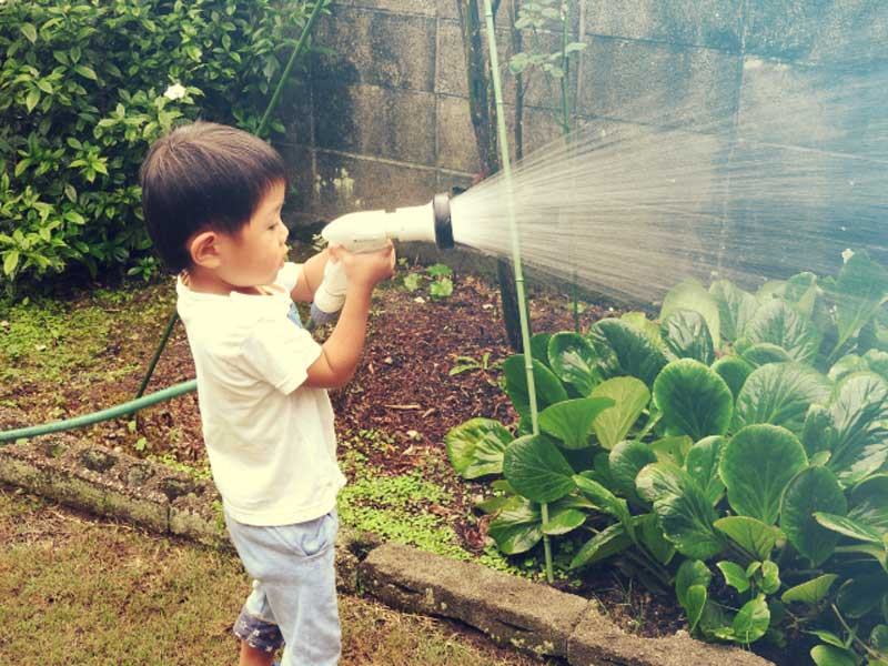 水やりする男の子