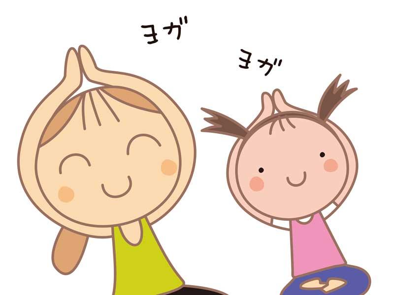 ストレッチをする親子のイラスト