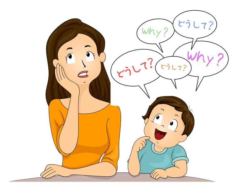 質問をする子供とママのイラスト