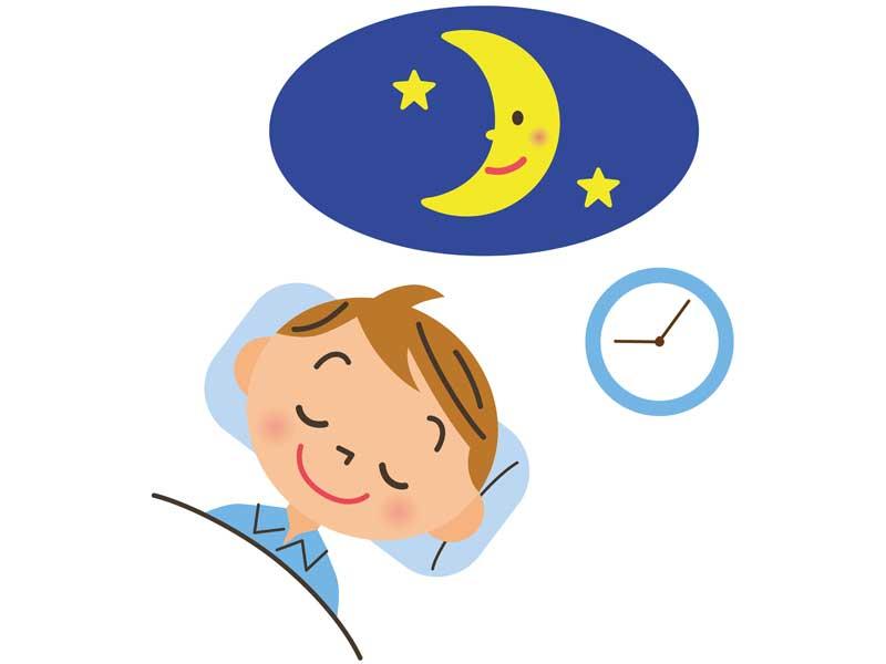 9時過ぎに寝ている男の子のイラスト