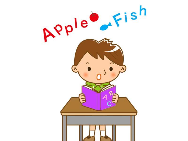 英語の勉強をしている男の子のイラスト