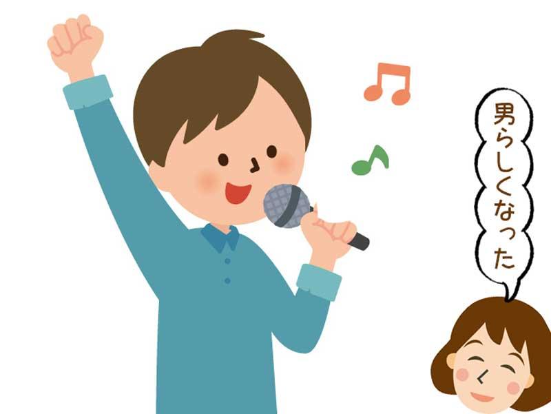 カラオケで歌う男の子のイラスト
