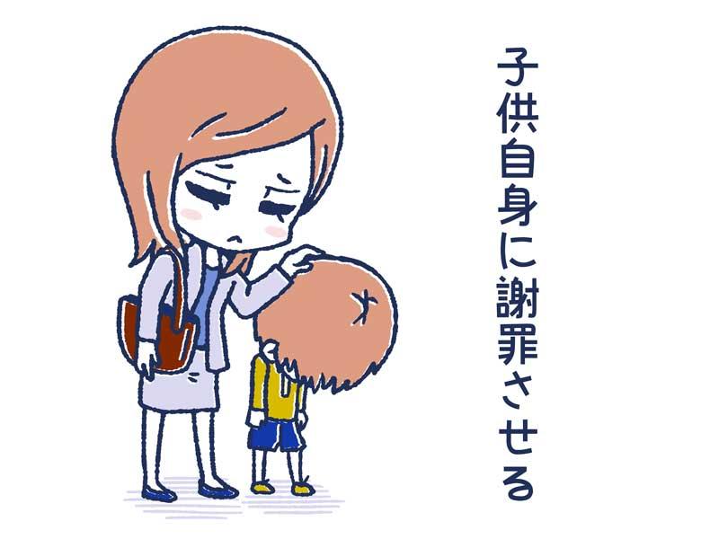 謝罪する親子のイラスト