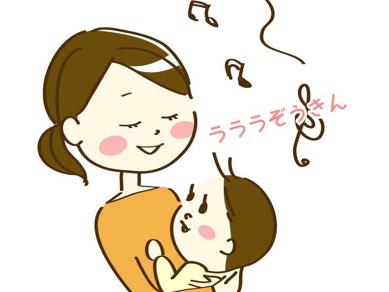 赤ちゃんに歌を歌うママのイラスト