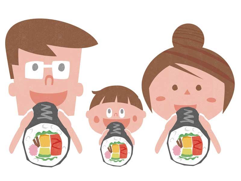 恵方巻きを食べる家族のイラスト