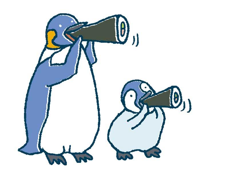 恵方巻きを食べるペンギン親子のイラスト