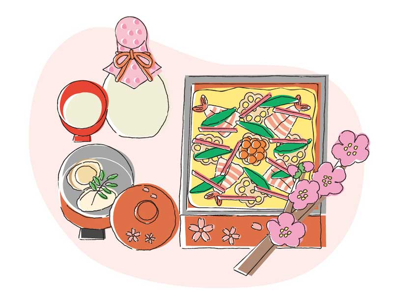 ひな祭りの食べ物のイラスト