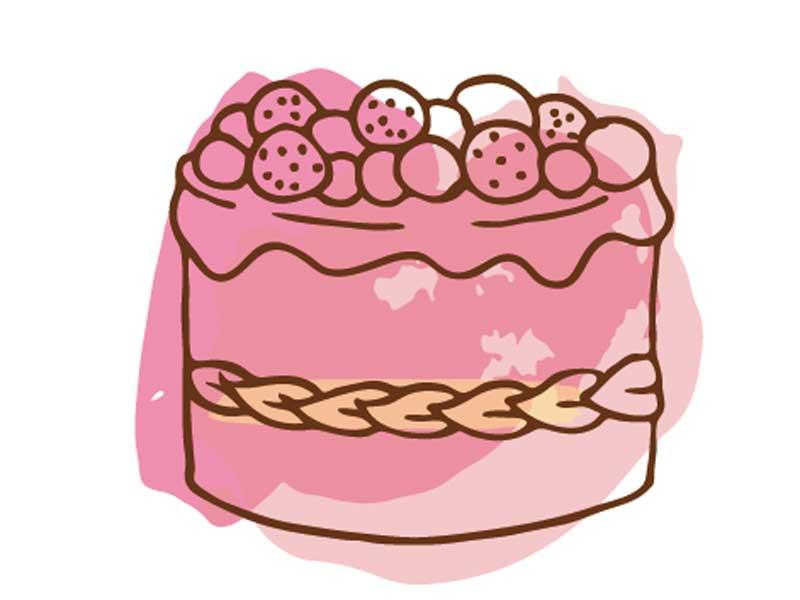 ピンク色のケーキのイラスト