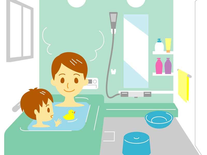 入浴する親子のイラスト