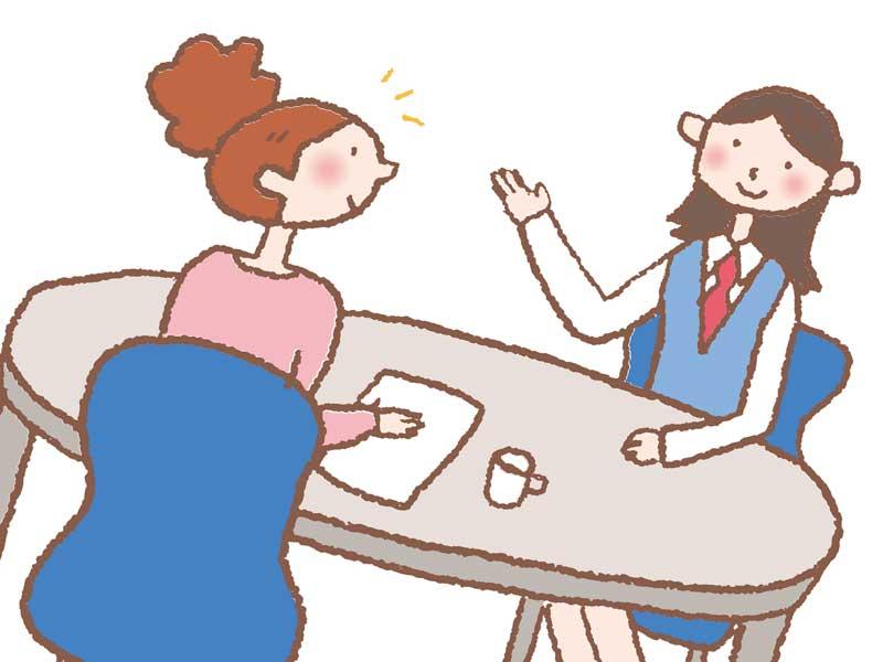 示談交渉をしている女性のイラスト