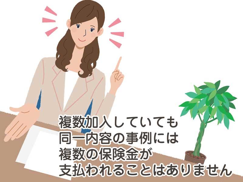 保険金について説明をしている女性のイラスト