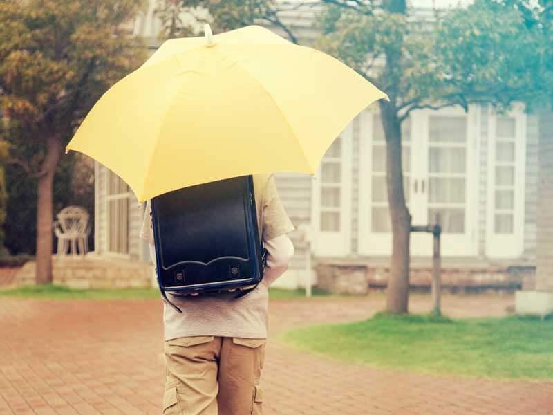 雨天時に通学する小学生男子の後姿