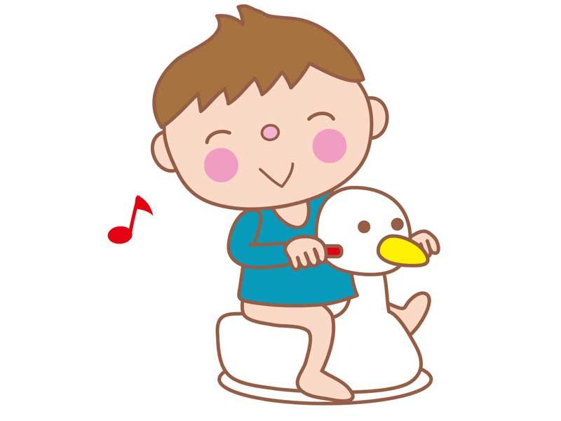 おまるでトイレトレーニングする幼児のイラスト