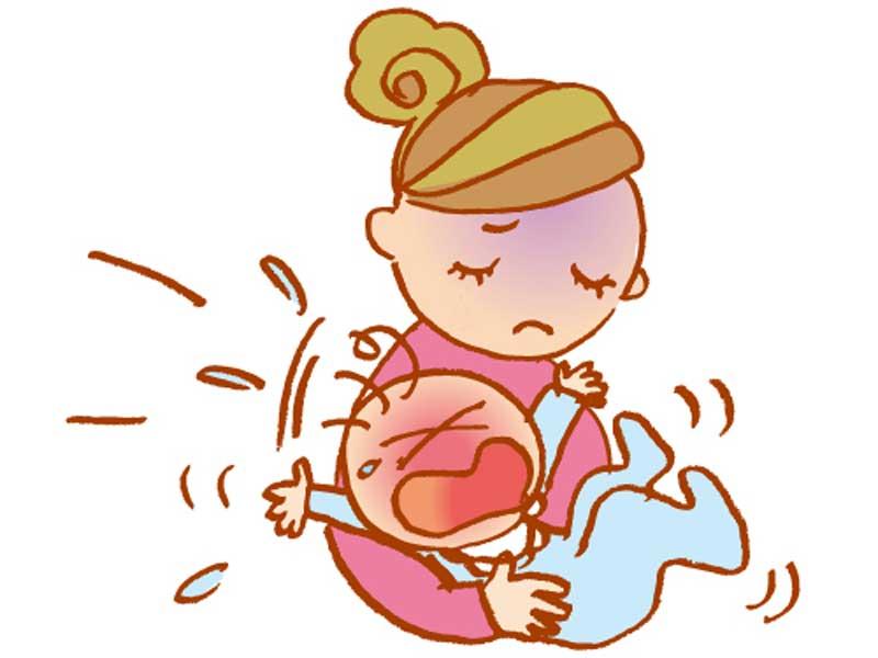 夜泣きする赤ちゃんを抱っこするママのイラスト