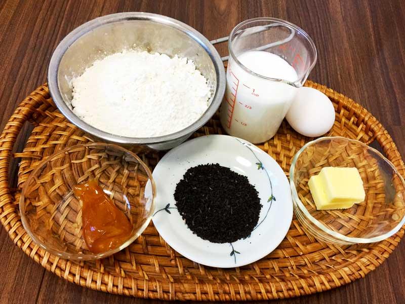 茶殻ケーキの材料