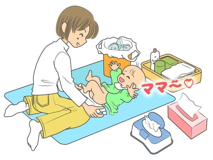 赤ちゃんにおむつ替えするママのイラスト