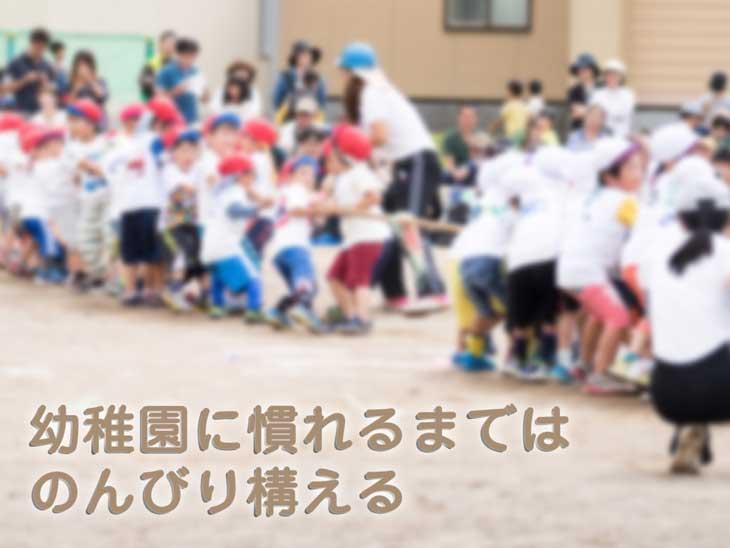 幼稚園の運動会で綱引きする園生達
