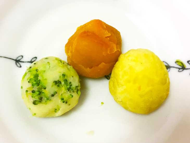 野菜の3色団子の完成品