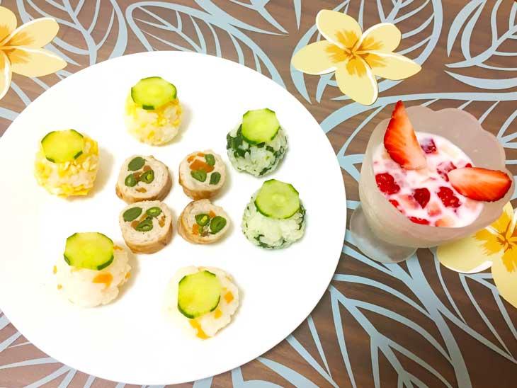 手まり寿司風3色おにぎり&いんげんと人参の肉巻きの完成品