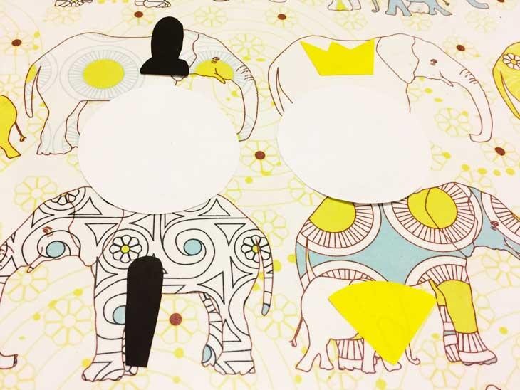 折り紙で作った烏帽子・笏・冠・扇と丸く切り取った白画用紙