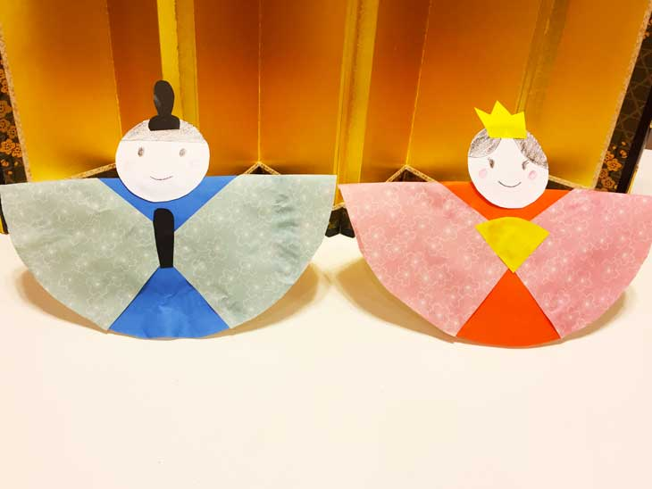 紙皿で手作りしたお雛様の完成品