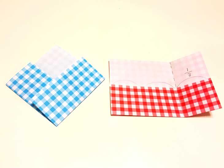 下から1/3右から1/3の所で折った折り紙