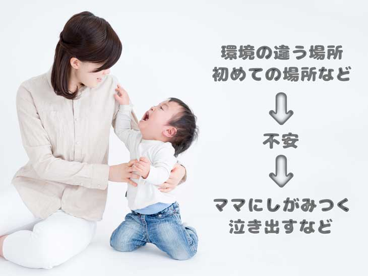 泣きながらママにしがみつく赤ちゃん