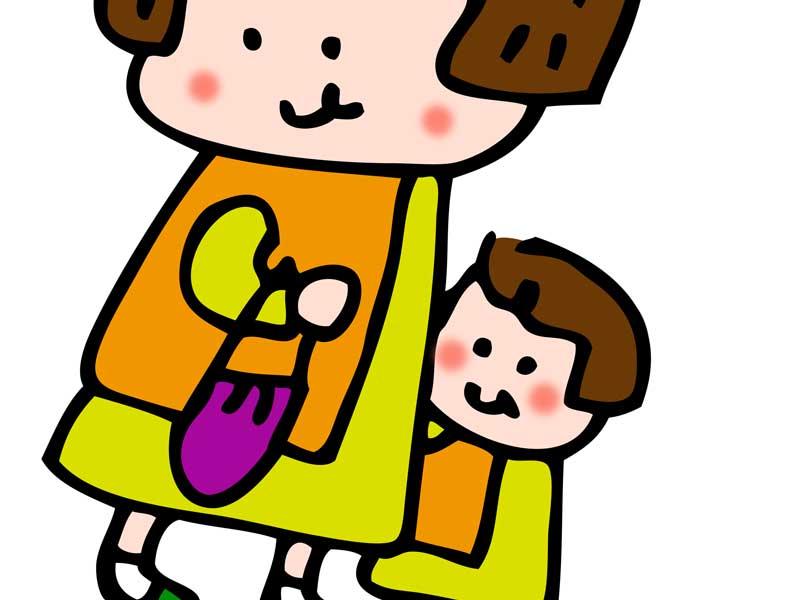 ペアルックを着ている親子のイラスト