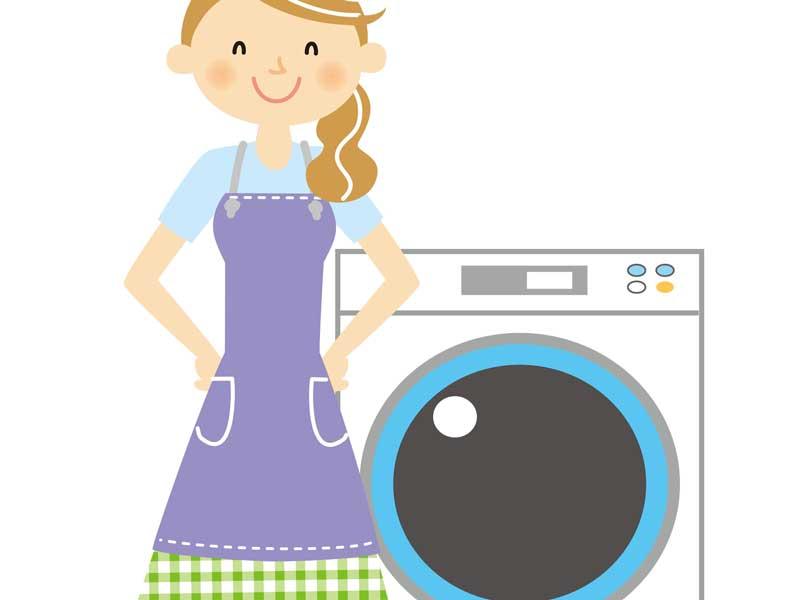 洗濯するママのイラスト