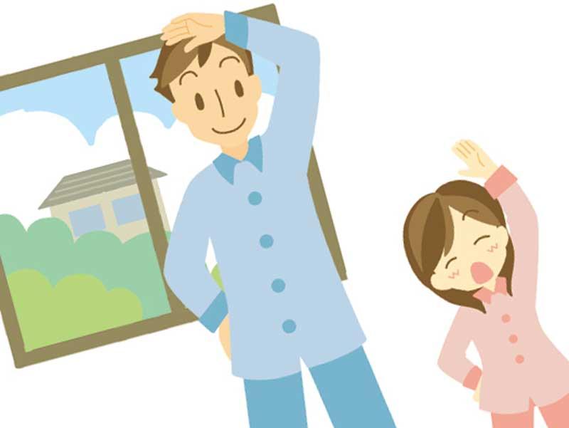 早起きする家族のイラスト