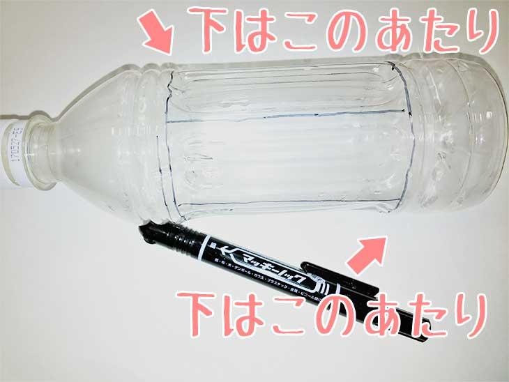 ペットボトルの上下に油性ペンで線を引く