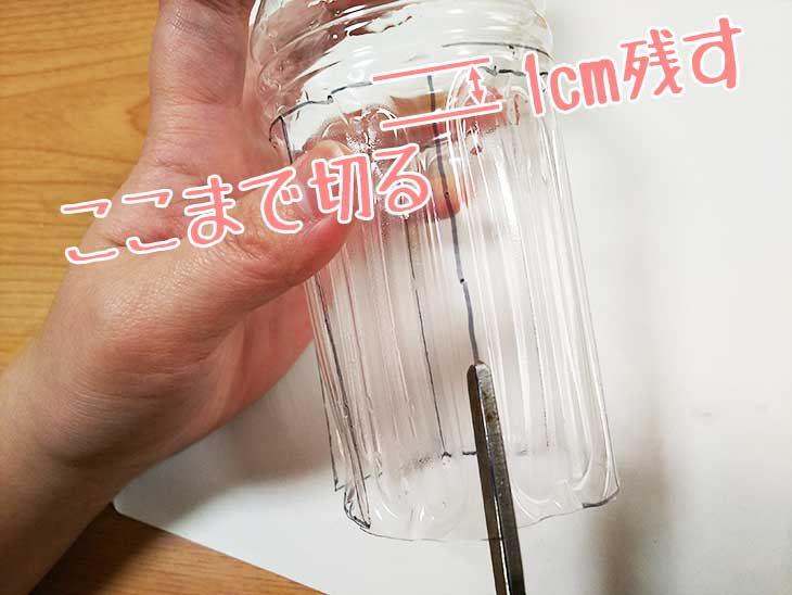 ペットボトルの側面にハサミで切り込みを入れる