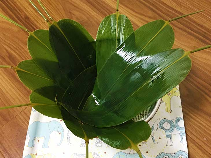 水で洗った笹の葉