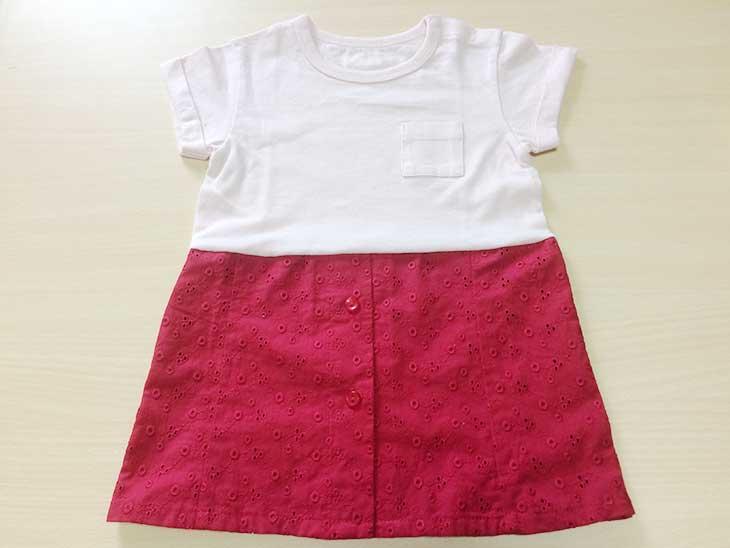 Tシャツをリメイクした切り返しのある赤ちゃん用ワンピース完成品