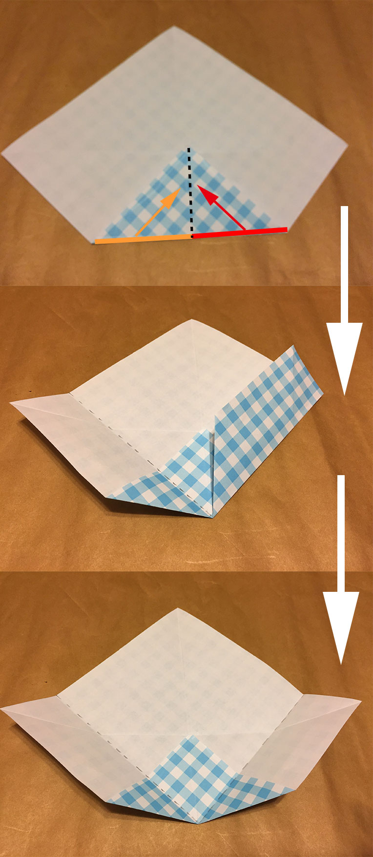 折り紙の下側の折り方を解説している写真