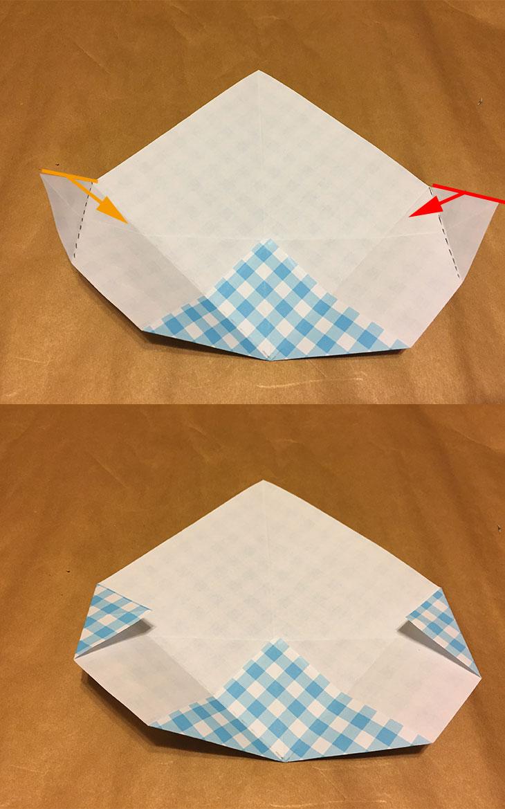 折り紙の左右の折り目のつけ方を解説している写真