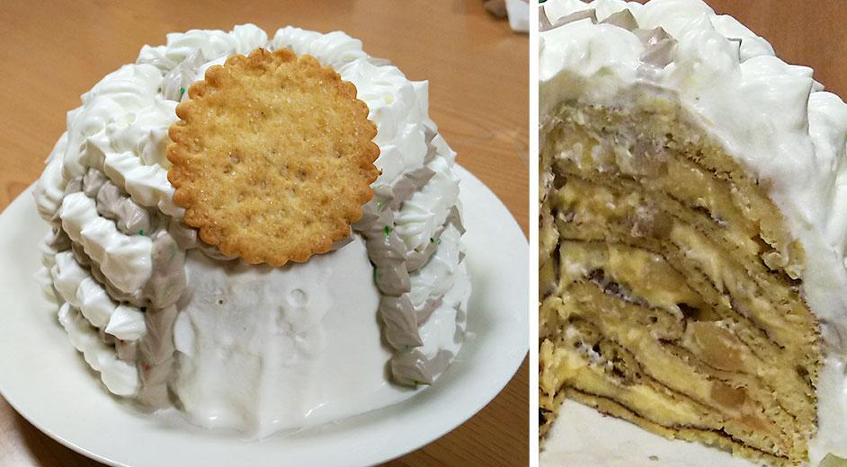 完成したホットケーキの兜ケーキと断面の写真