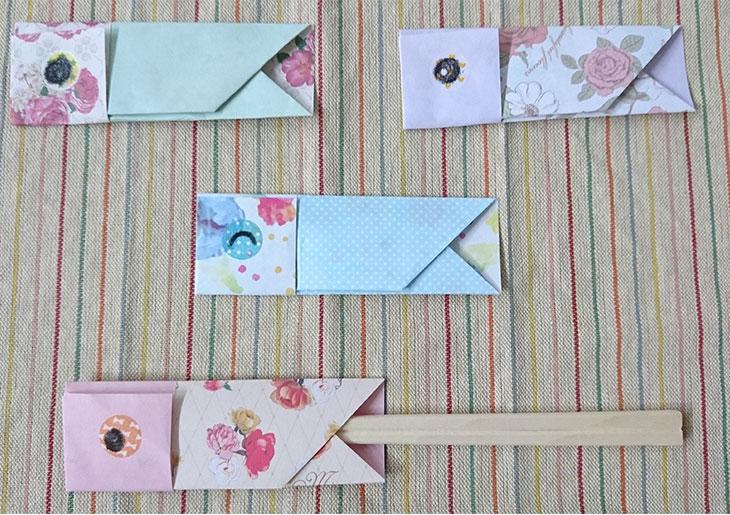 折り紙で作ったこいのぼりの箸袋の写真