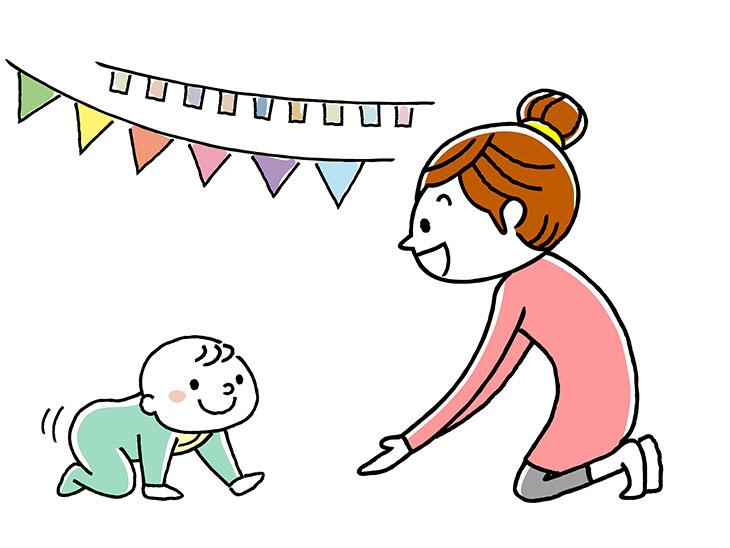 ハイハイをする赤ちゃんとお母さん