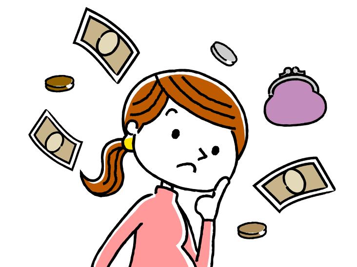 お金のことを考える女性イラスト