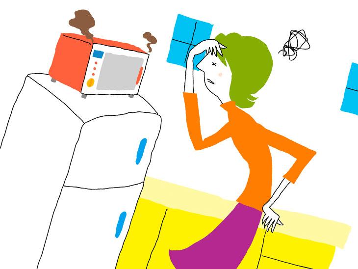 冷蔵庫の前で頭を抱えている女性イラスト