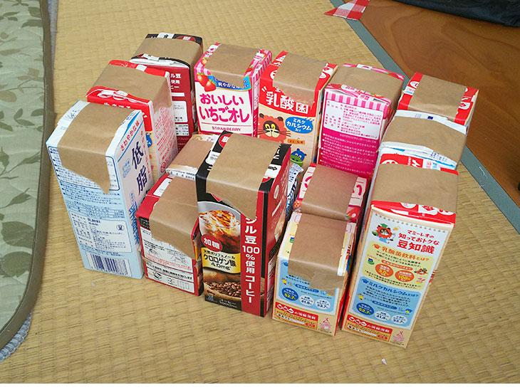 バンボ型に牛乳パックを並べた写真