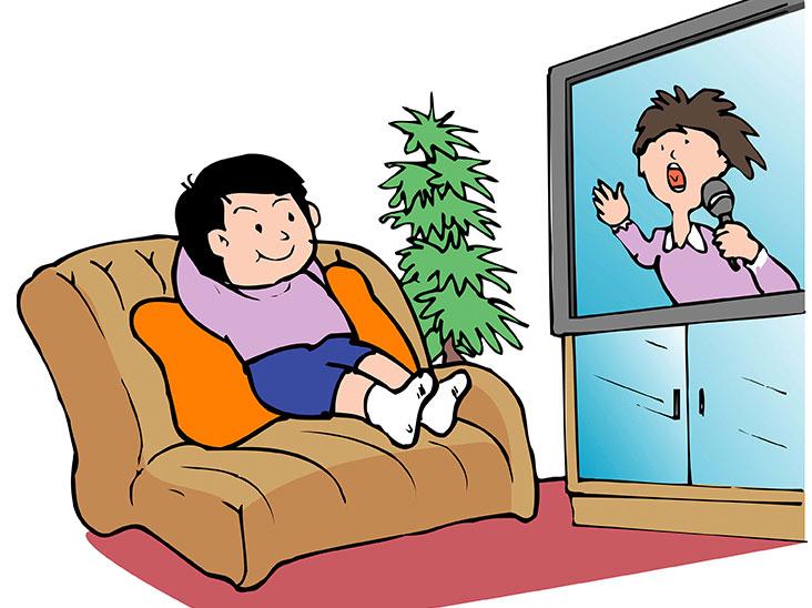 ソファに座ってテレビを見る男の子のイラスト