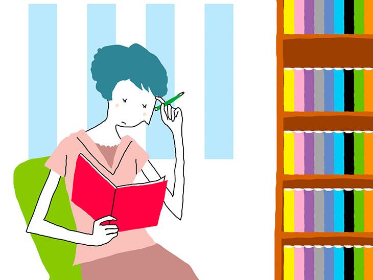 鉛筆を持つ女性イラスト
