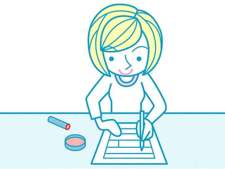 書類に記入する女性イラスト